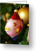 Family Time Greeting Cards - Fishy Ornament Greeting Card by Jera Sky