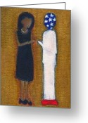Barrack Obama Greeting Cards - Fist Pumping First Lady He Seeing Stars Greeting Card by Ricky Sencion