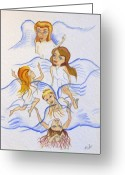 Angel Blues  Drawings Greeting Cards - Five Angels Hanging Around  Greeting Card by Kenneth Michur
