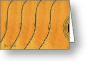 Wood Greeting Cards - Five Fender Guitars Greeting Card by Bob Orsillo
