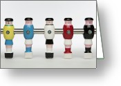 Soccer Greeting Cards - Five Foosball Figurines Wearing Different Uniforms Greeting Card by Caspar Benson