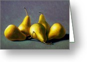 Food Greeting Cards - Five Golden pears Greeting Card by Frank Wilson