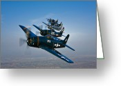 Five People Greeting Cards - Five Grumman F8f Bearcats In Formation Greeting Card by Scott Germain