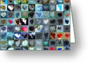 Grid Of Heart Photos Digital Art Greeting Cards - Five Hundred Series Greeting Card by Boy Sees Hearts