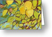 Lemon Greeting Cards - Five Lemons Greeting Card by Jennifer Lommers