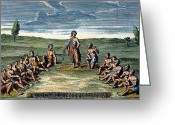 Mohawk Greeting Cards - FIVE NATIONS: MEETING, c1570 Greeting Card by Granger
