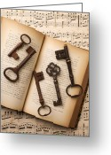Music Notes Greeting Cards - Five old keys Greeting Card by Garry Gay