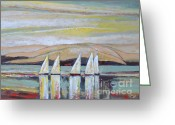Sailing Fast Greeting Cards - Five Sails Greeting Card by Kip Decker