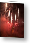 Pyrotechnics Greeting Cards - Five to the Sky Greeting Card by Paul Mangold