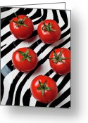 Plates Greeting Cards - Five tomatoes  Greeting Card by Garry Gay