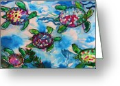 Sea Life Pastels Greeting Cards - Five Turtles Greeting Card by Emily Michaud
