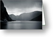 Raining Greeting Cards - Fjord Rain Greeting Card by David Bowman