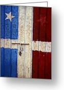 Old San Juan Greeting Cards - Flag Door Greeting Card by Garry Gay