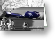 Coffin Greeting Cards - Flag for the Fallen - Selective Color Greeting Card by Al Powell Photography USA