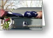 Coffin Greeting Cards - Flag for the Fallen Greeting Card by Al Powell Photography USA