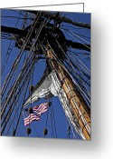 Ropes Greeting Cards - Flag In The Rigging Greeting Card by Garry Gay
