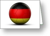 German Football Greeting Cards - Flag Of Germany On Soccer Ball Greeting Card by Bjorn Holland