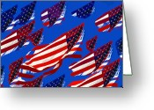 4th Greeting Cards - Flags American Greeting Card by David Lee Thompson