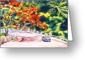 Watercolor Flowers Prints Greeting Cards - Flamboyant at Crashboat Beach Greeting Card by Estela Robles