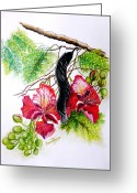 Giclee Pastels Greeting Cards - Flamboyant Greeting Card by Karin Best