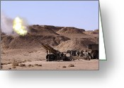 Cannons Greeting Cards - Flame And Smoke Emerge From The Muzzle Greeting Card by Stocktrek Images