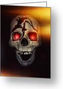 Death Head Greeting Cards - Flame Eyes Greeting Card by Joana Kruse