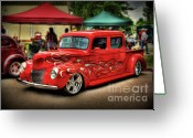 Chrome Grill Greeting Cards - Flame Hot Truck Greeting Card by Perry Webster