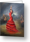 Red Dress Painting Greeting Cards - Flamenco Dancer Greeting Card by Mai Griffin