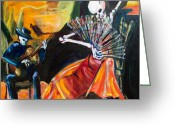 Calaveras Greeting Cards - Flamenco Fan Greeting Card by Sharon Sieben