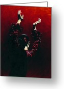 Red Dress Painting Greeting Cards - Flamenco Fire Greeting Card by Richard Young