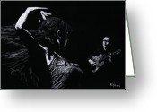Drawing Pastels Greeting Cards - Flamenco Recital Greeting Card by Richard Young