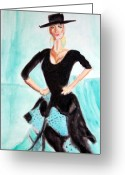 Actual Greeting Cards - Flamenco Redux Greeting Card by Stanley Morganstein