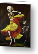 Day Of The Dead Greeting Cards - Flamenco VI Greeting Card by Sharon Sieben