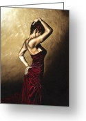 Red Dress Painting Greeting Cards - Flamenco Woman Greeting Card by Richard Young