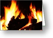 Fireplace Greeting Cards - Flames Greeting Card by Ginger Barritt