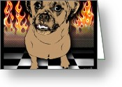 Lori Malibuitalian Greeting Cards - Flaming Adorable Puggle Greeting Card by Lori Malibuitalian