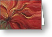 Flower Abstract Greeting Cards - Flaming Flower Greeting Card by Nadine Rippelmeyer