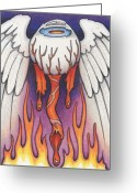 Motorcycle Art Greeting Cards - Flaming Flying Eyeball Greeting Card by Amy S Turner