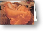 Antiquity Greeting Cards - Flaming June - 1895 Greeting Card by Lord Frederic Leighton