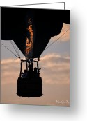 Balloon Festival Greeting Cards - Flaming Silhouette  Greeting Card by Bob Orsillo