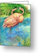 Bird Framed Prints Greeting Cards - Flamingo in Love Greeting Card by Natalie Berman