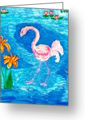 Sue Burgess Ceramics Greeting Cards - Flamingo Greeting Card by Sushila Burgess