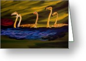 Gregory Allen Page Greeting Cards - Flamingoes Swim African Birds Greeting Card by Gregory Allen Page