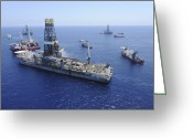 Offshore Greeting Cards - Flaring Operations Conducted Greeting Card by Stocktrek Images