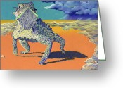 Horned Lizard Greeting Cards - Flash Flood - Horny Toad Greeting Card by Tracy L Teeter
