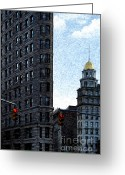 Cityscape Digital Art Greeting Cards - Flat Iron NYC Greeting Card by Sabine Jacobs