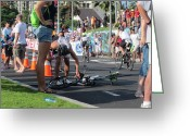 Ironman Photo Greeting Cards - Flat tire Greeting Card by Charles  Jennison