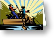 Rowing Greeting Cards - Flatboat Along River Greeting Card by Aloysius Patrimonio