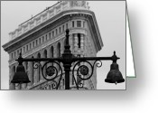 Street Lamps Greeting Cards - Flatiron Building New York Greeting Card by Andrew Fare