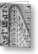 Skyscraper Mixed Media Greeting Cards - Flatiron Vintage Postcard Greeting Card by Anahi DeCanio
